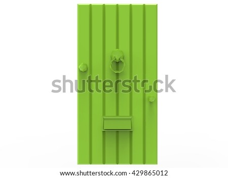 3d illustration of simple door. low poly triangles and polygons style. icon for game web. green texture color. white background isolated with shadow. simple to use.  - stock photo