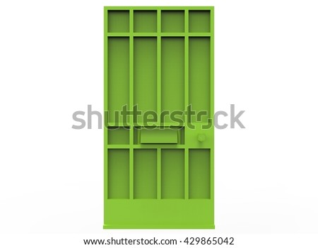 3d illustration of simple door. low poly triangles and polygons style. icon for game web. green texture color. white background isolated with shadow. simple to use.