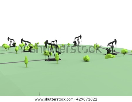 3d illustration of simple oil derricks. low poly triangles and polygons style. icon for game web. green black texture color. white background isolated with shadow. simple to use.  - stock photo