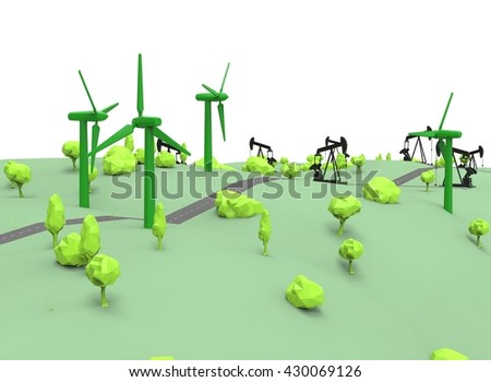 3d illustration of simple oil derricks with wind generators. low poly triangles and polygons style. icon for game web. green black texture color. white background isolated with shadow. simple to use.  - stock photo