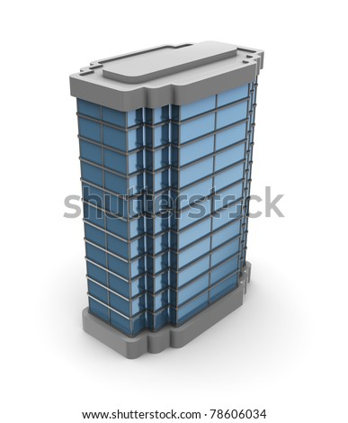 3d illustration of single city building over white background