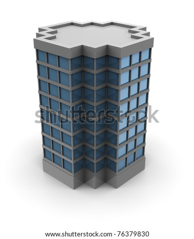 3d illustration of single office building over white background