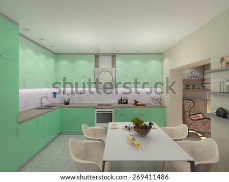 3d illustration of small apartments in pastel colors. Green modern kitchen