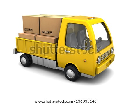3d illustration of small business truck with boxes, over white background - stock photo