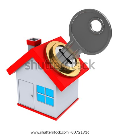 3d illustration of small house with key - stock photo