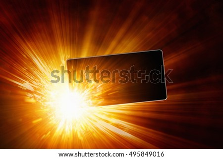 3D illustration of smartphone battery explosion, exploding mobile phone, overheating battery cells