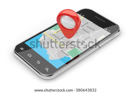3d illustration of smartphone navigation concept isolated