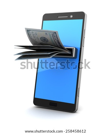 3d illustration of smartphone with banknotes, over white background