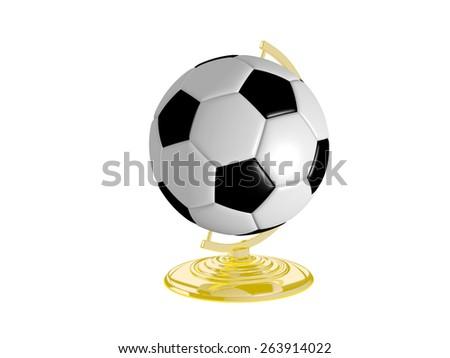 3D Illustration Of Soccer Ball On Globe Stand - stock photo