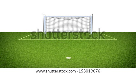 3d illustration of soccer field with goals on blue background isolated on white - stock photo