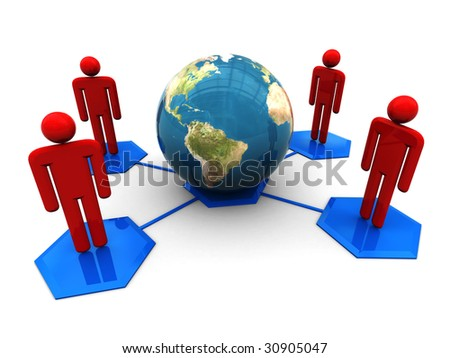 3d illustration of social network symbol with globe, over white background