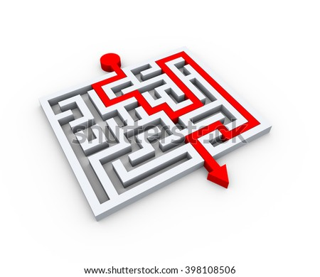 3d illustration of solved maze labyrinth puzzle - stock photo