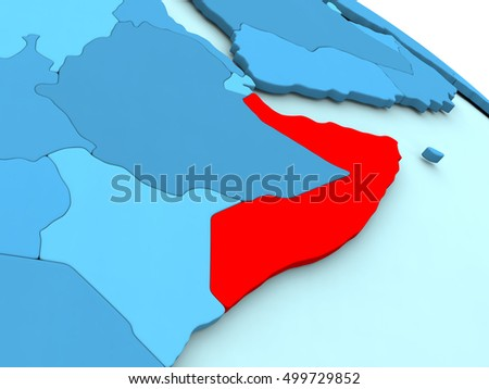 3D illustration of Somalia highlighted in red color on blue globe