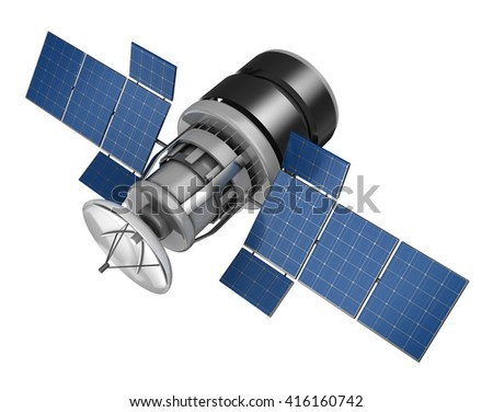 3d illustration of space satellite over white background - stock photo