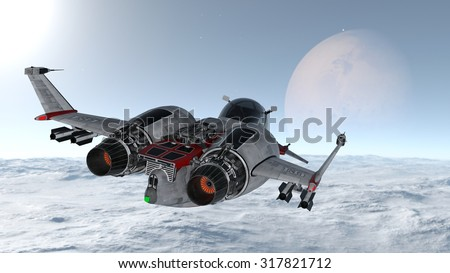 3D illustration of space ship and space - stock photo