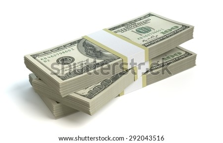 3d illustration of stacks of money