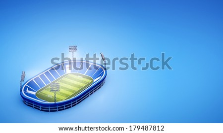 3d illustration of stadium with soccer field with the lights on blue background - stock photo