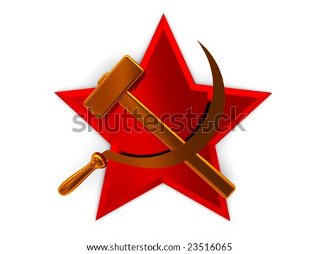 3d illustration of star and sickle over red star, soviet symbol