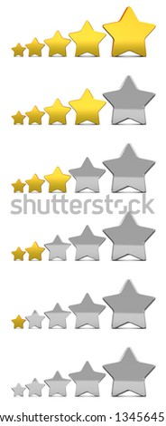 3d illustration of stars rating icons set, over white background - stock photo