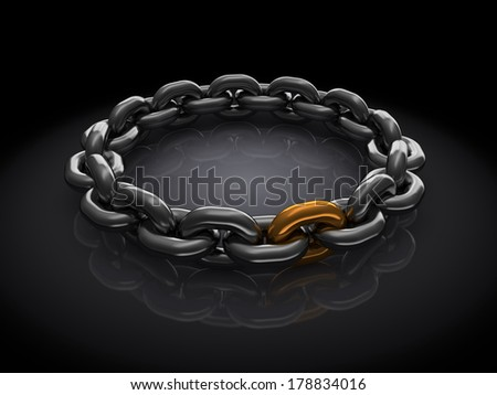3d illustration of steel chain ring with golden link, over black background - stock photo