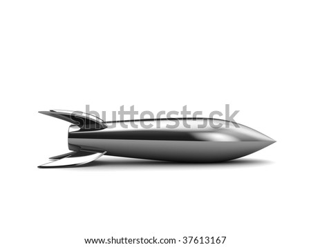 3d illustration of steel missile over white background - stock photo
