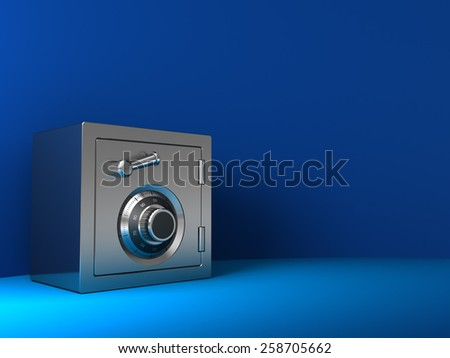 3d illustration of steel safe over blue background - stock photo