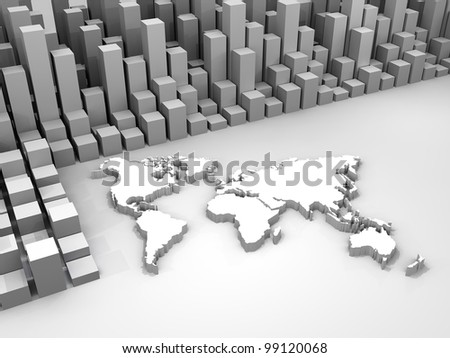 3d illustration of stock trade around the world
