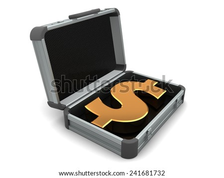 3d illustration of suitcase with dollar sign inside - stock photo