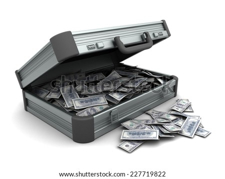 3d illustration of suitcase with money, over white background - stock photo