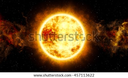 3D Illustration of  Sun and Star with Cosmic Cloud in Space