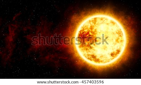 3D Illustration of  Sun and Star with Cosmic Cloud in Space - stock photo