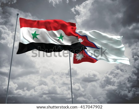 3D illustration of Syria & Nepal Flags are waving in the sky with dark clouds  - stock photo