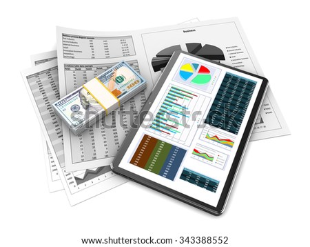 3d illustration of tablet computer, business papers and money stack