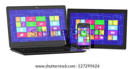 3d illustration of tablet PC, laptopand smartphone isolated on white background - stock photo