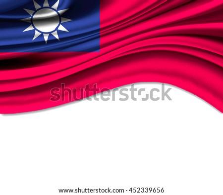 3D illustration of Taiwan fabric waving of flag. - stock photo