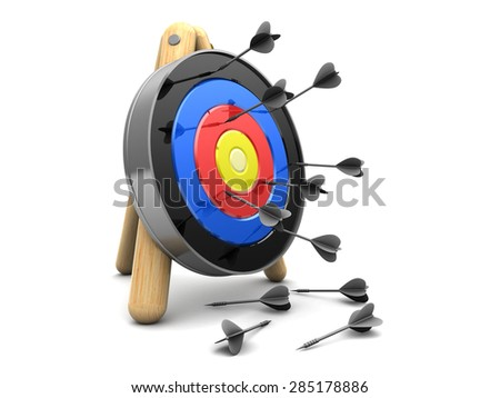 3d illustration of target and darts loosers - stock photo