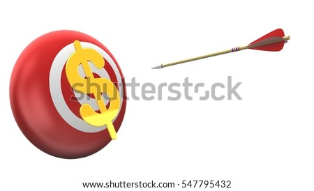 3d illustration of target sphere with arrow flight and dollar sign over white background