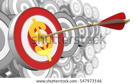 3d illustration of target with arrow and dollar sign over many targets background