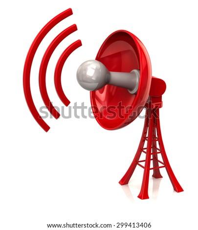 3d illustration of technology satellite red dish antenna - stock photo