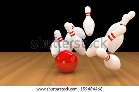 3D illustration of ten pins / skittles with red bowling ball  - stock photo