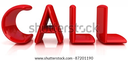 3d illustration of text 'call', search engine optimization symbol - stock photo