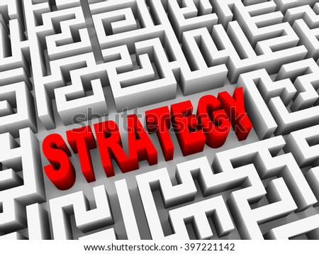 3d illustration of text strategy in complicated endless puzzle labyrinth maze - stock photo