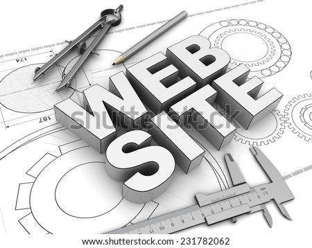 3d illustration of text 'web site' and drawing tools - stock photo