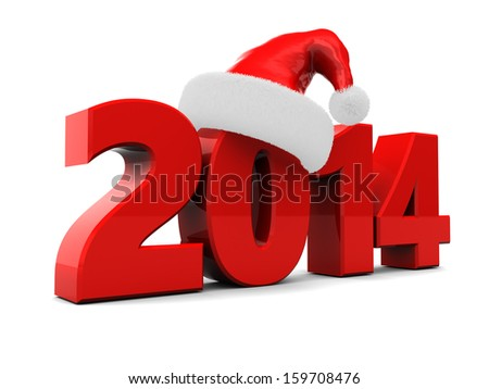 3d illustration of text 2014 with red christmas hat