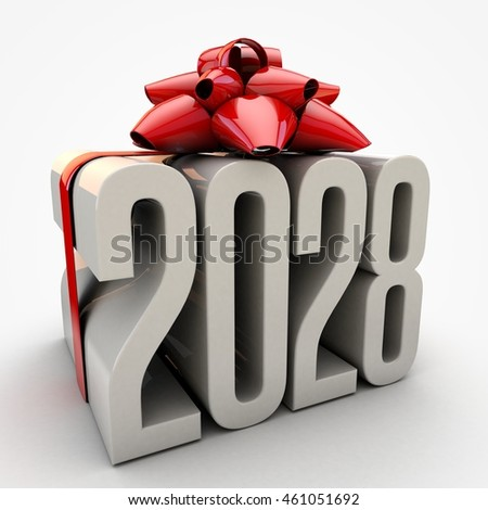 3D illustration of 2028  text wrapped up with red ribbon and bow