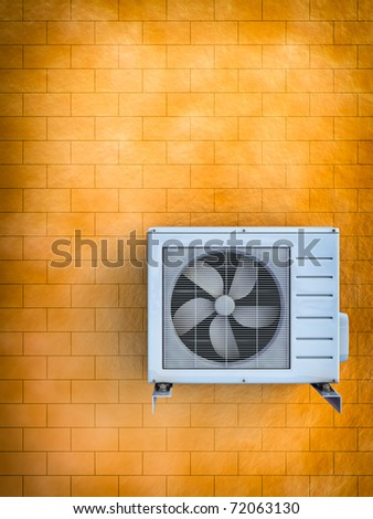 3d illustration of the air conditioner installed on a brick wall.