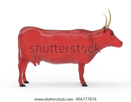3D illustration of the cow, on white background isolated, with shadow, transparent, red cubic glass - stock photo