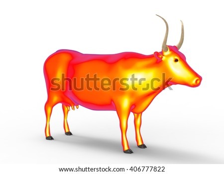 3D illustration of the cow, on white background isolated, with shadow, warm orange, yellow and red - stock photo