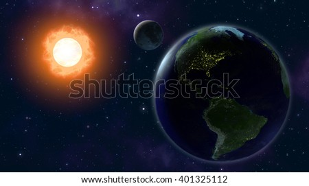 3d illustration of the earth and the moon orbiting the sun