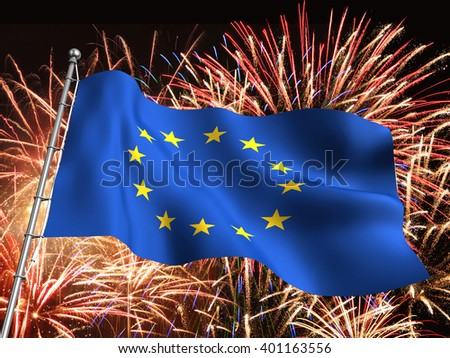 3D illustration of the European Union flag with massive fireworks display in the background